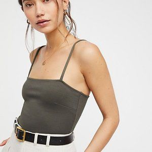 FREE PEOPLE olive square neck bodysuit top